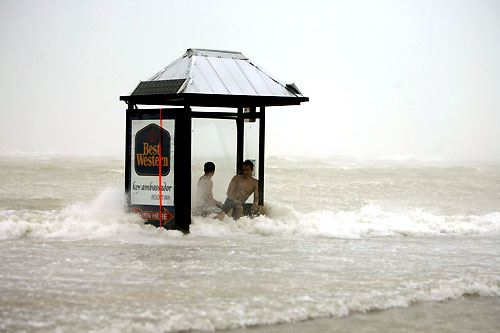 Hurricane Wilma 2005 Two People Stuck at a Bus Stop
