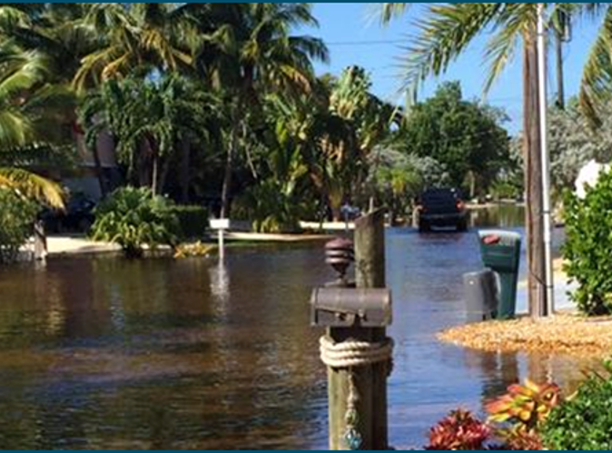 Photo of tidal flooding in Key Largo neighborhood in 2015.