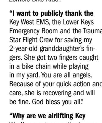 Trauma Star Thank you note in Key West Citizen