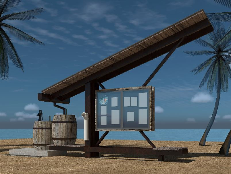 Conceptual drawing of the boat ramp kiosk