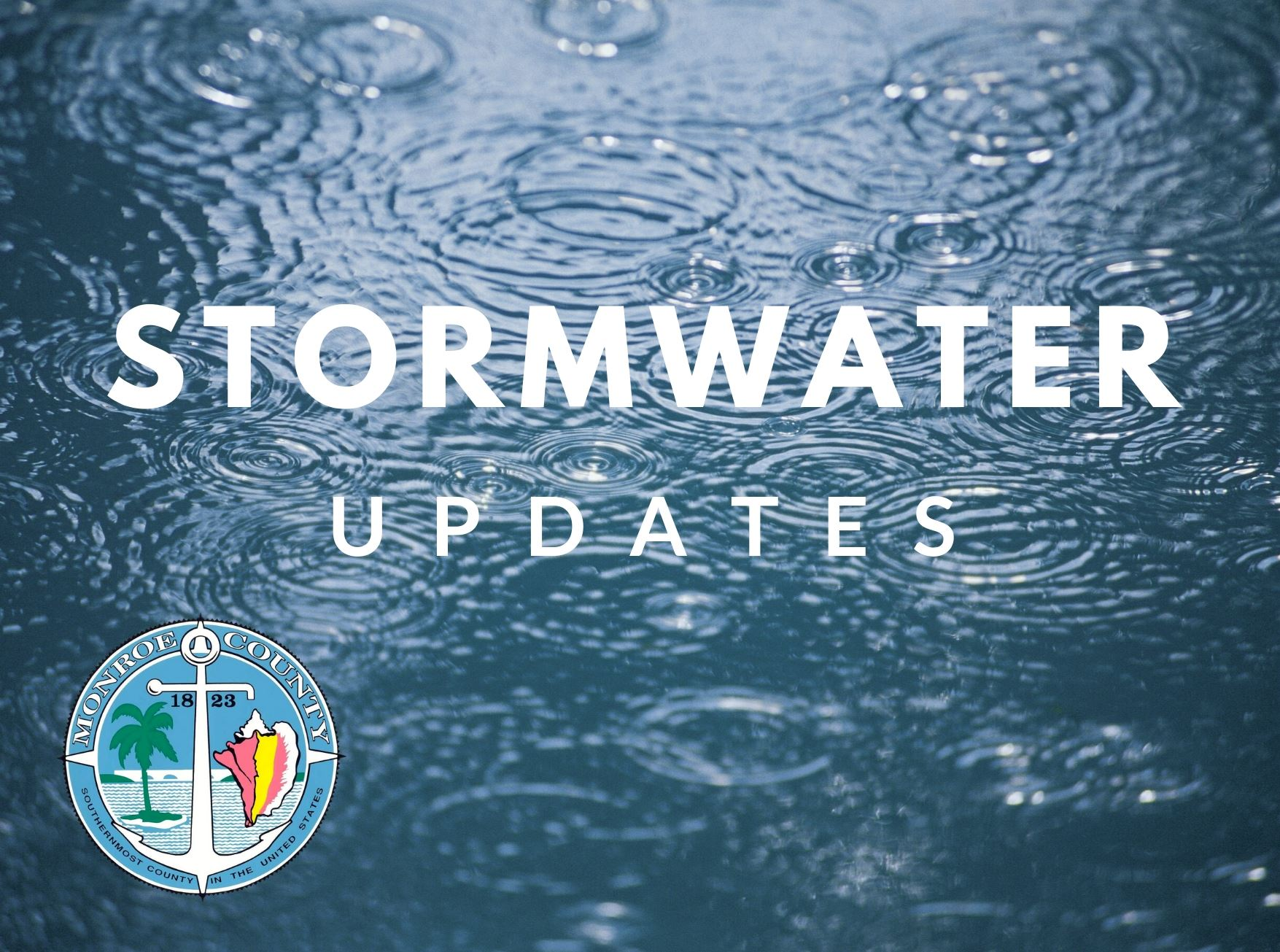 Stormwater Updates Graphic with rain on ground