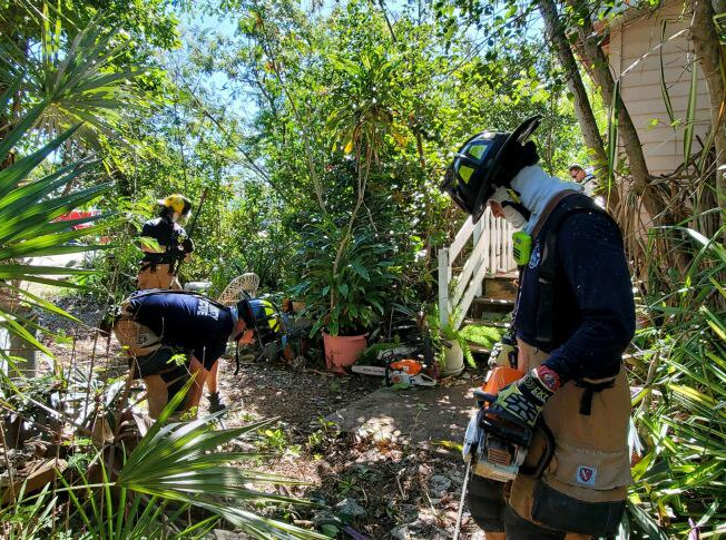 Firefighters seen clearing overgrown landscaping at an elderly person's home