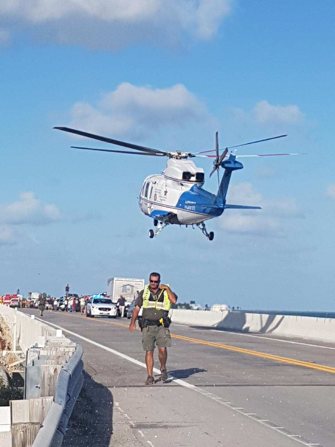 Photo of Trauma Star landing at Channel 2 Bridge during following a major accident on 10-5-18-3