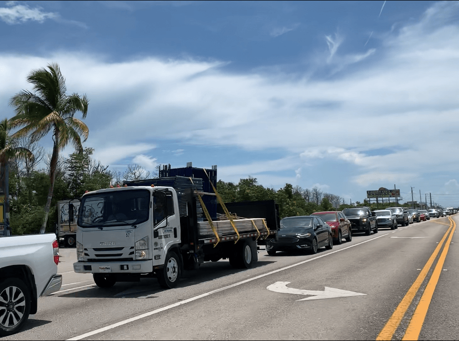 Busy weekend traffic at light on Big Pine Key
